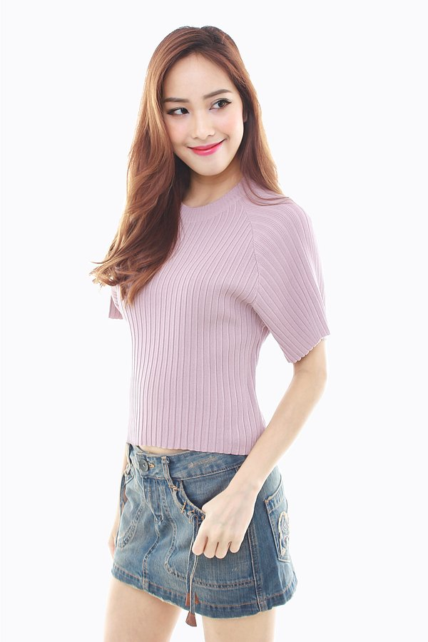 *RESTOCKED* Understated Urbanity Ribbed Knit Top Mauve