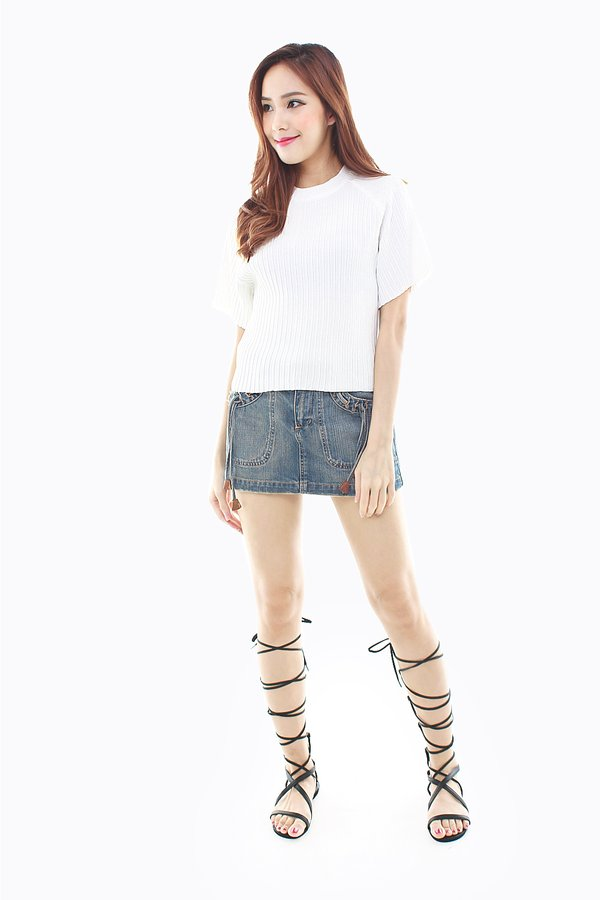 Understated Urbanity Ribbed Knit Top White