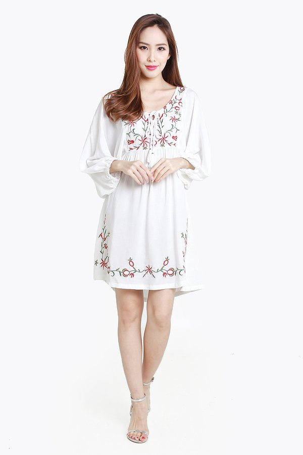 *RESTOCKED* Entranced by Embroidery Gypsy Blouson Dress White