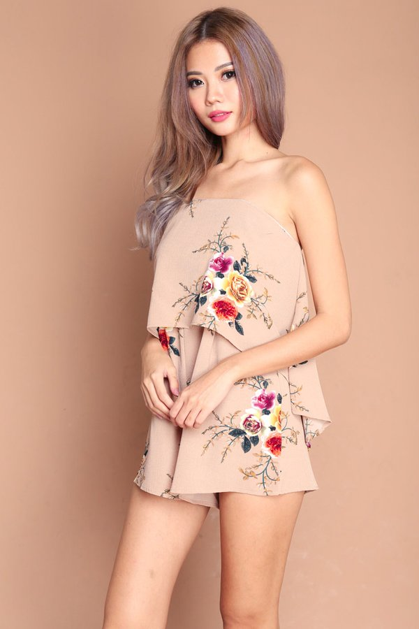 *RESTOCKED* Floral Finesse Romper Tan