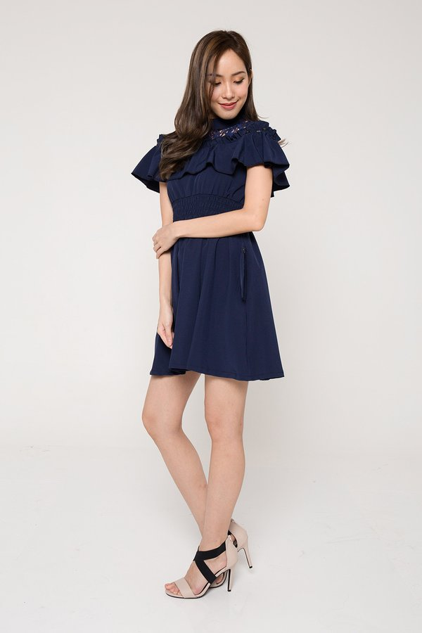*RESTOCKED* Lapping Loopholes Crochet Ruffle Dress