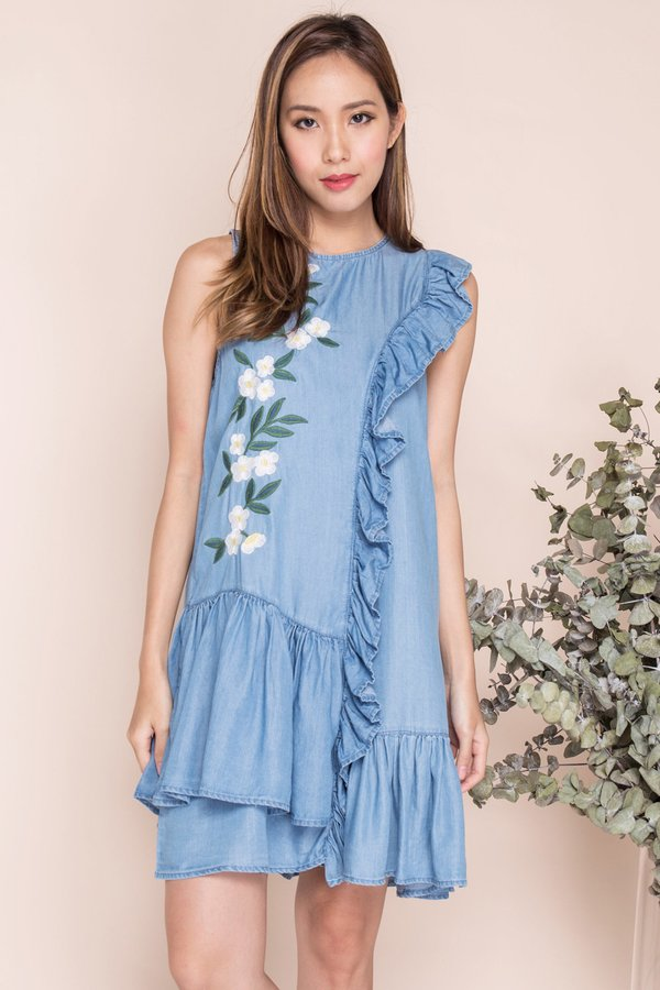 *RESTOCKED* Daffodils in the Sun Embroidery Denim Frock