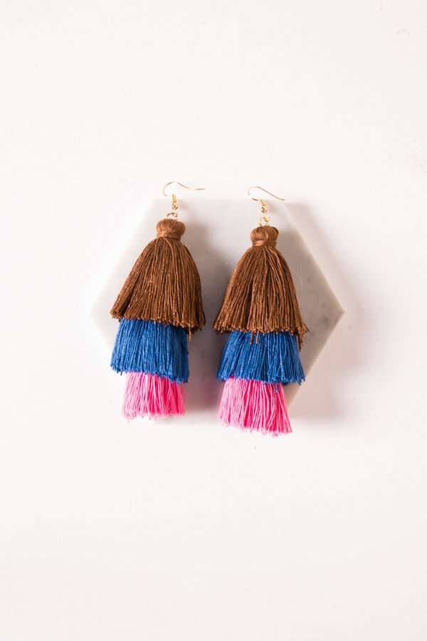 *RESTOCKED* Tassel Tease Earrings Brown