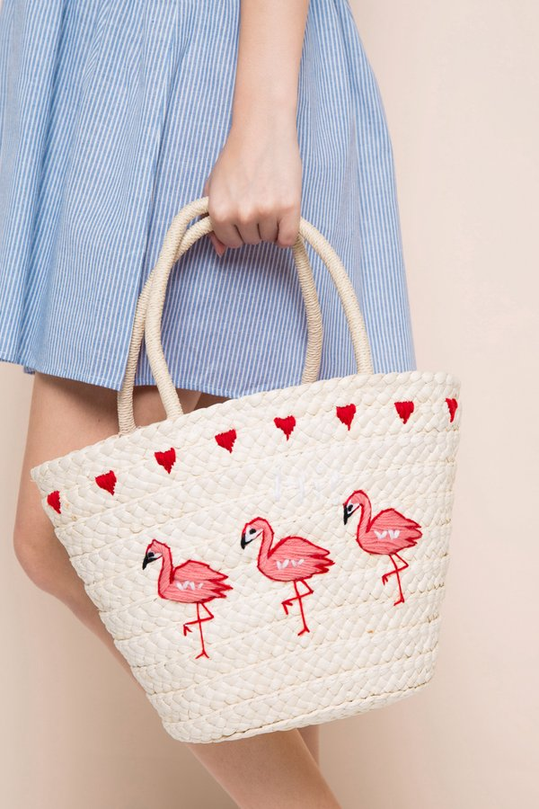 Flamingo Drawstring Straw Bag