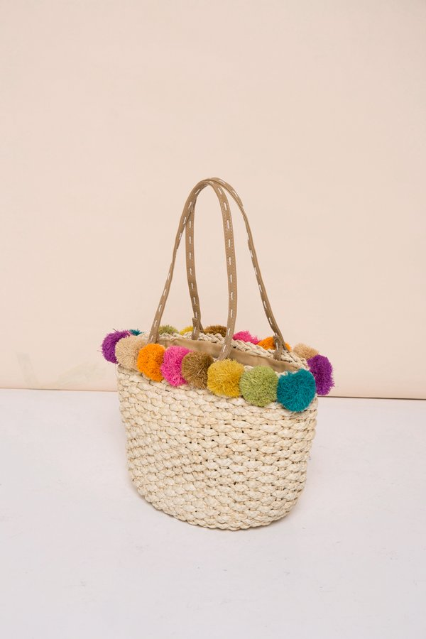 Colourful Pompoms Straw Bag