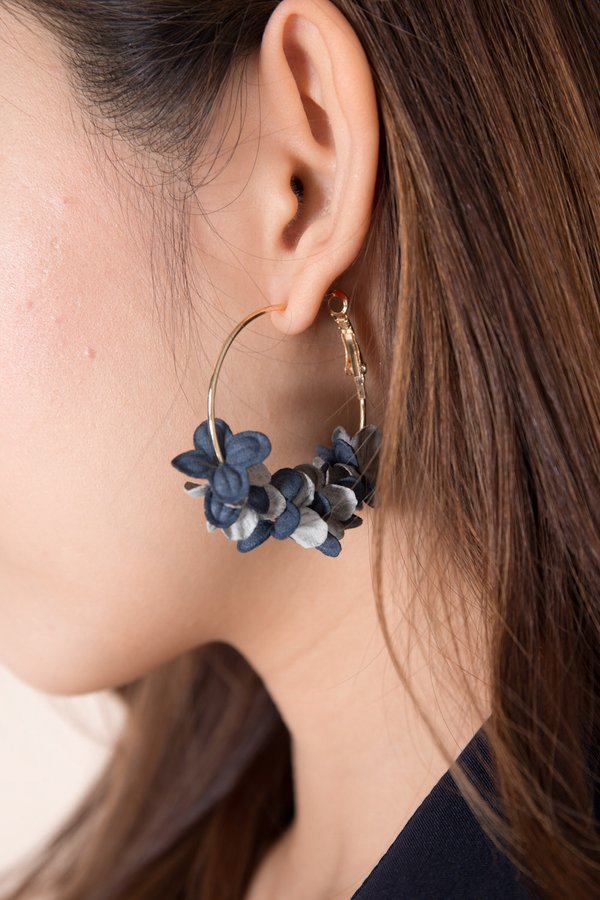 Petals Aflutter Hoop Earrings Wintry Blue