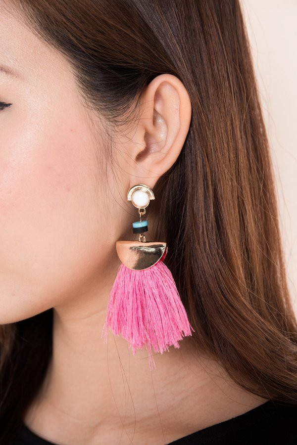 Fanning Flames Tassel Earrings Pink