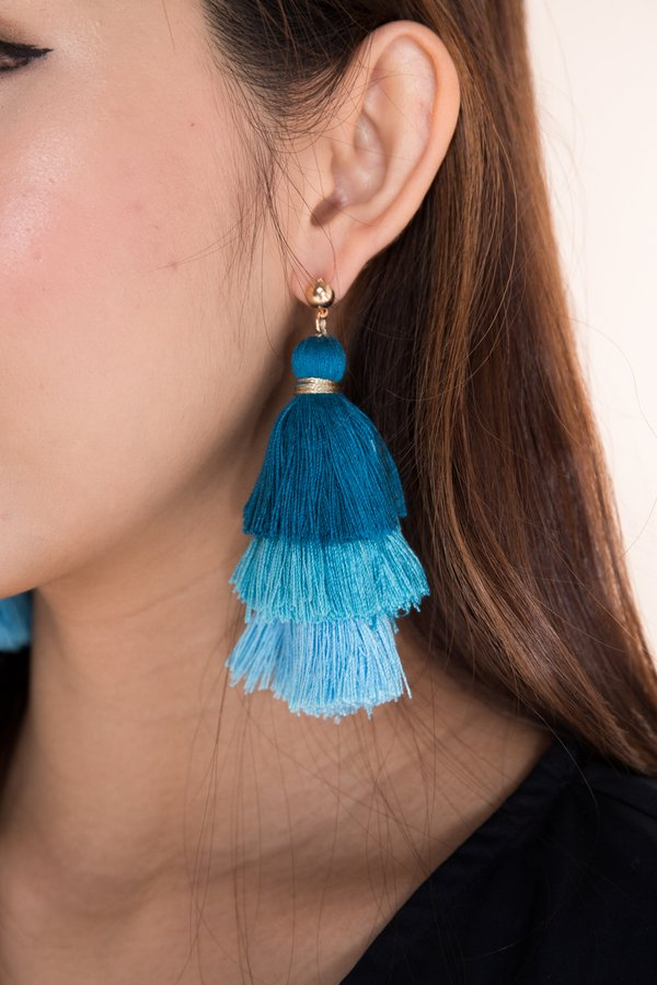 *RESTOCKED* Studded Spectacle Tassel Earrings Sky