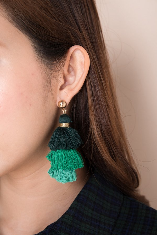 Studded Spectacle Tassel Earrings Seaweed