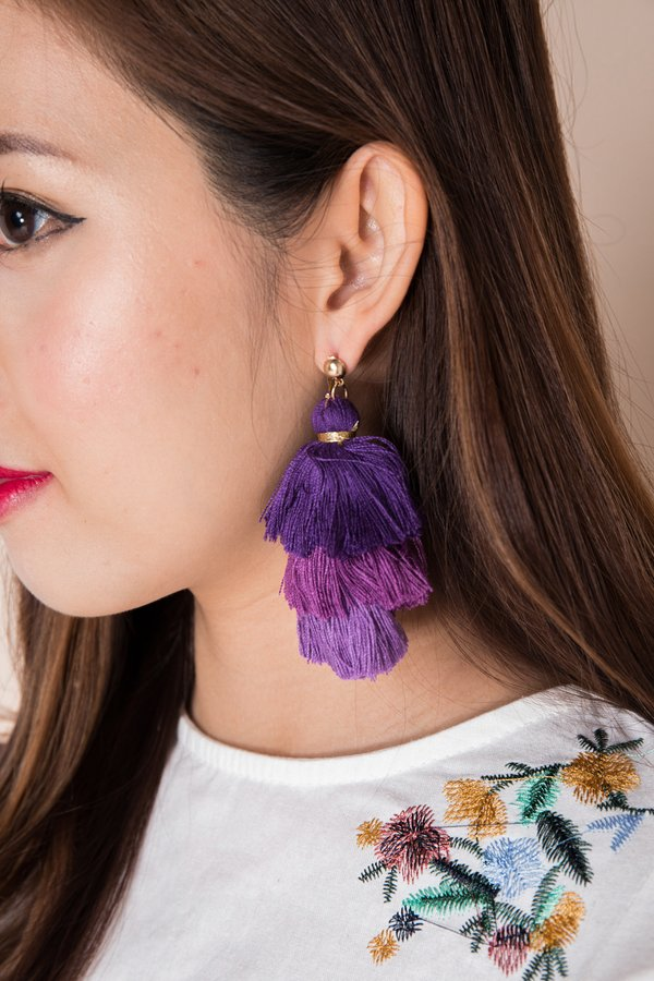 Studded Spectacle Tassel Earrings Sangria