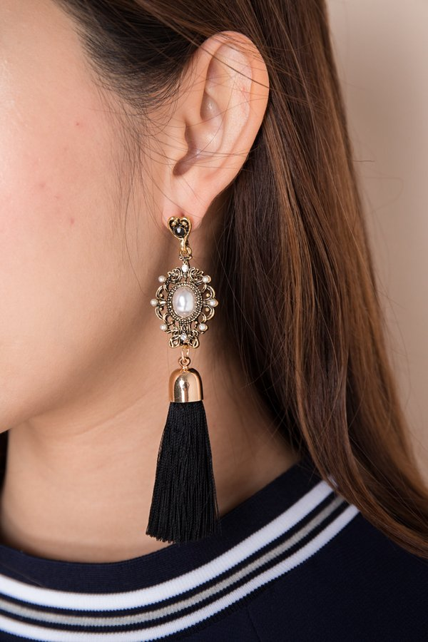 Bejewelled Spectacle Tassel Drop Earrings Black
