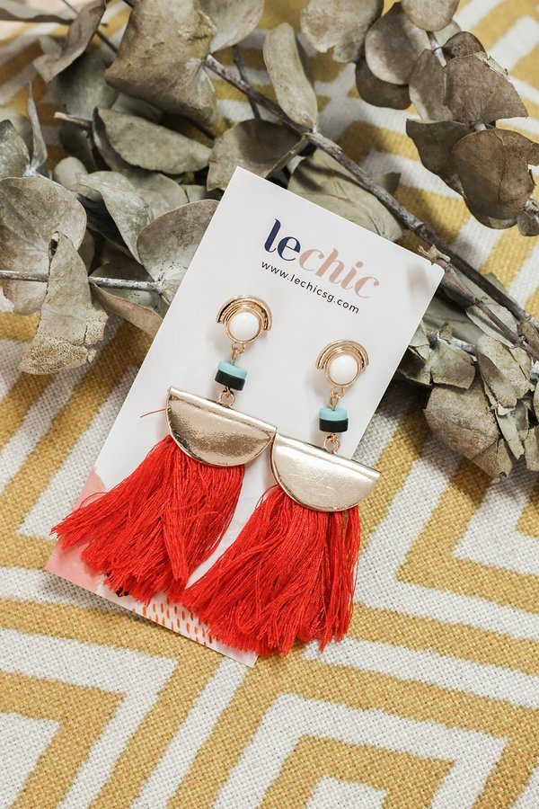 Fanning Flames Tassel Earrings Red