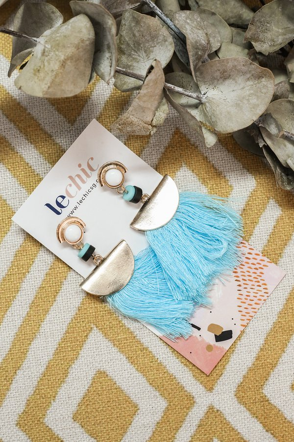 Fanning Flames Tassel Earrings Blue