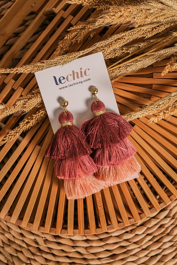 Studded Spectacle Tassel Earrings Rosewood