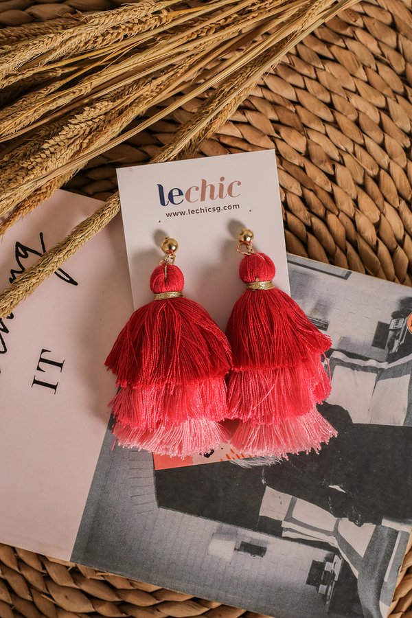 *RESTOCKED* Studded Spectacle Tassel Earrings Ruby Rose