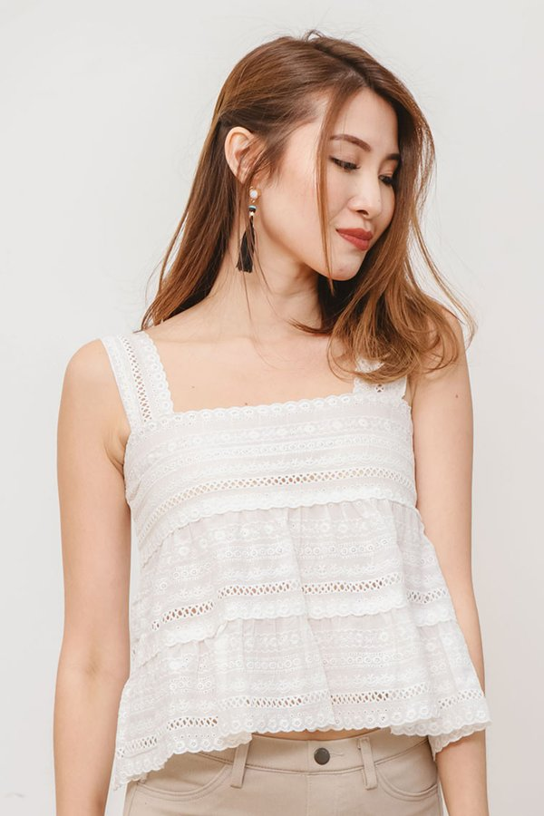 Broderie Anglaise Eyelet Babydoll Top