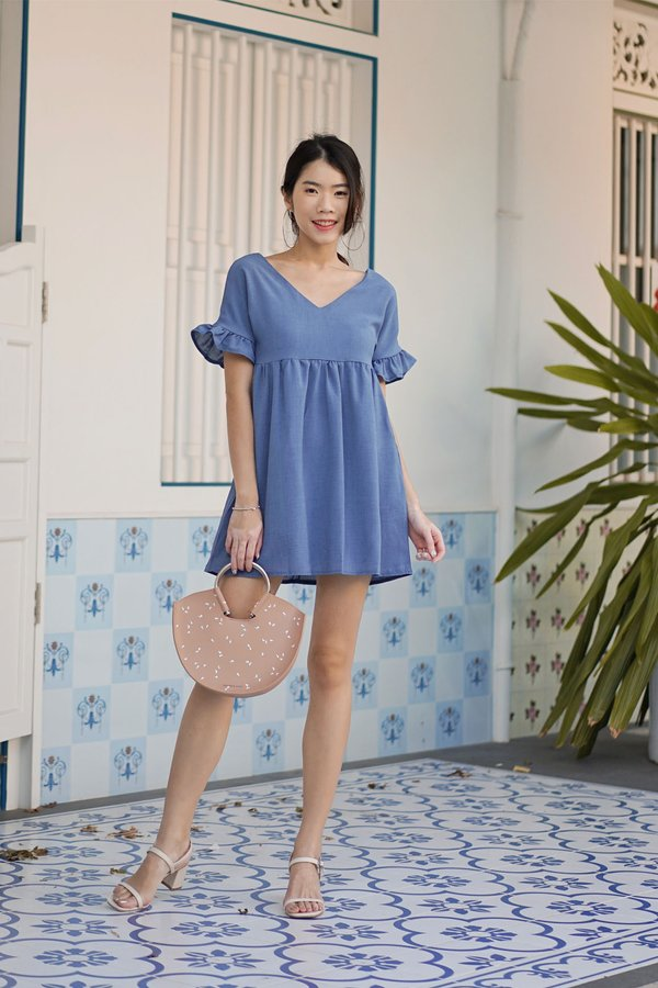 Leaps and Bounds Babydoll Dress Blue