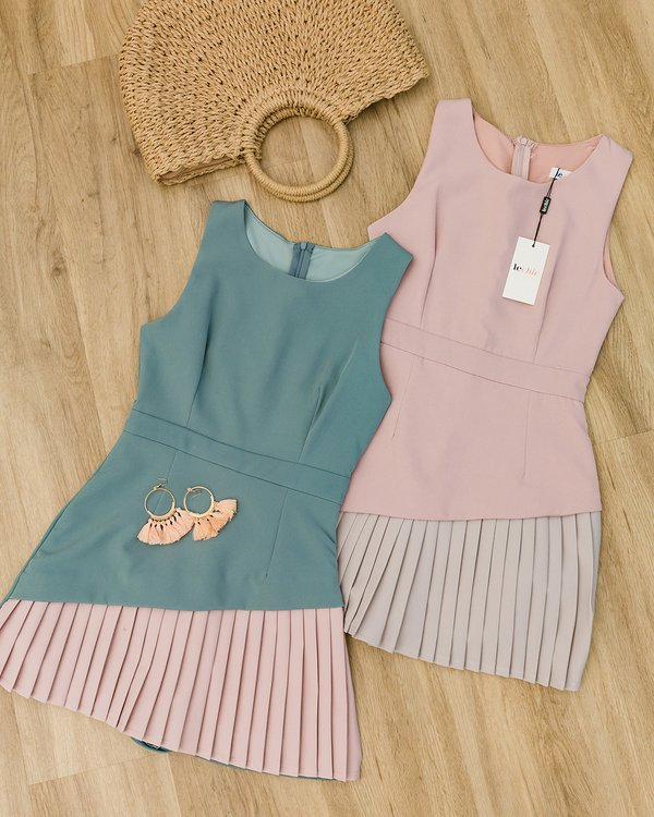 Artfully Colourblocked Pleated Romper Dress Pink