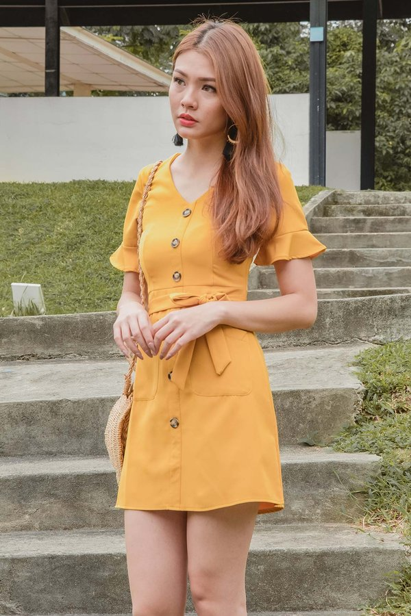 Fluttery Lineup Button Dress Marigold