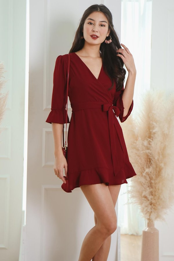 Lady Rouge Wrap Fluted Sleeve Dress