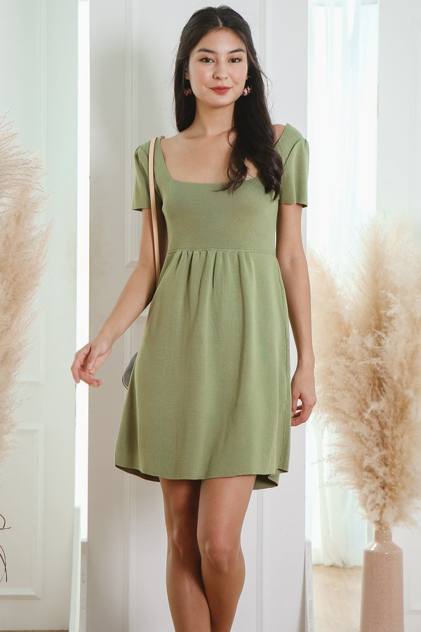 Earthy Stance Square Neck Knit Tee Dress