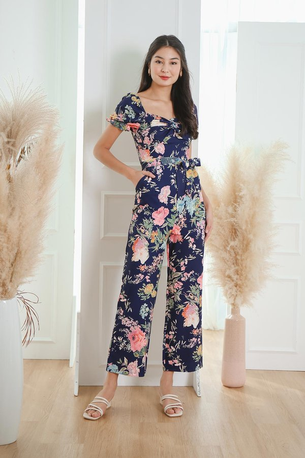 Now and Fleur Ever Twist Knot Jumpsuit Navy Blue