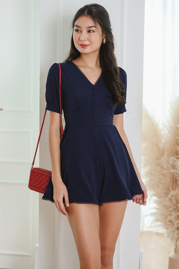 Ebb and Flow Buttons Trim Romper Navy Blue