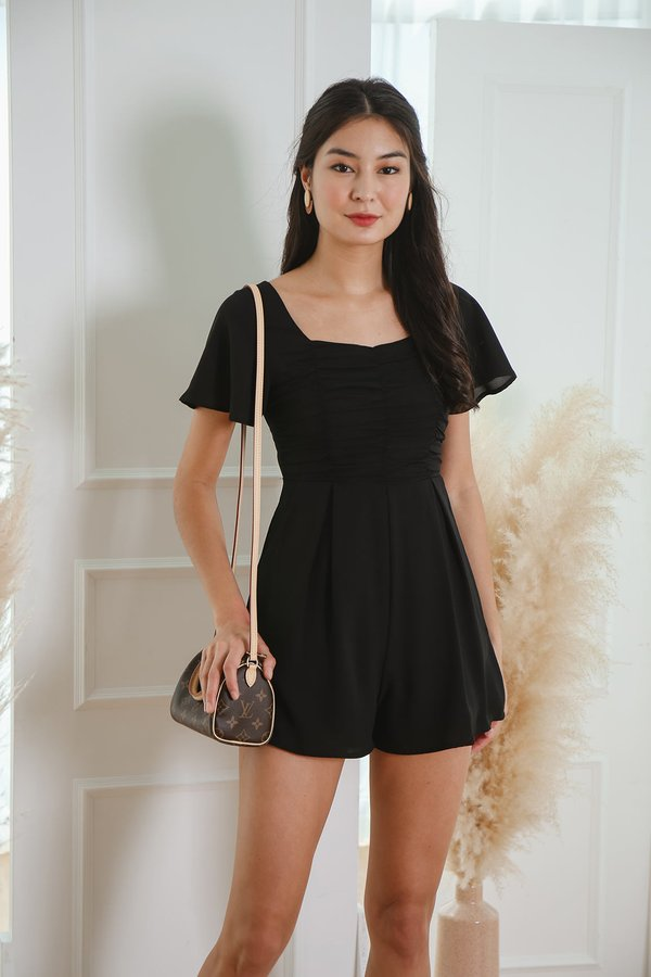 A Clever Ruse Ruched Romper Black