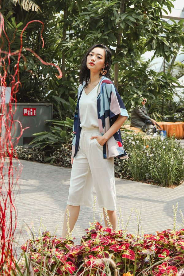 Coastal Colours Abstract Kimono Jacket Navy Blue
