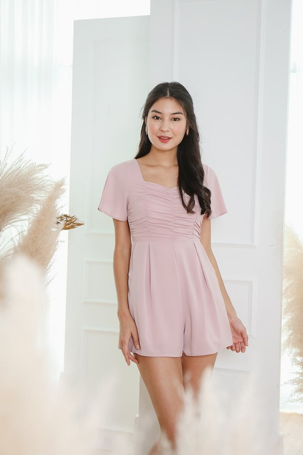 A Clever Ruse Ruched Romper Blush