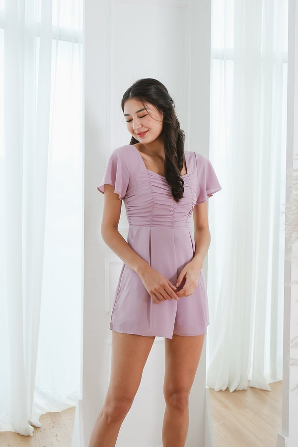 A Clever Ruse Ruched Romper Lilac