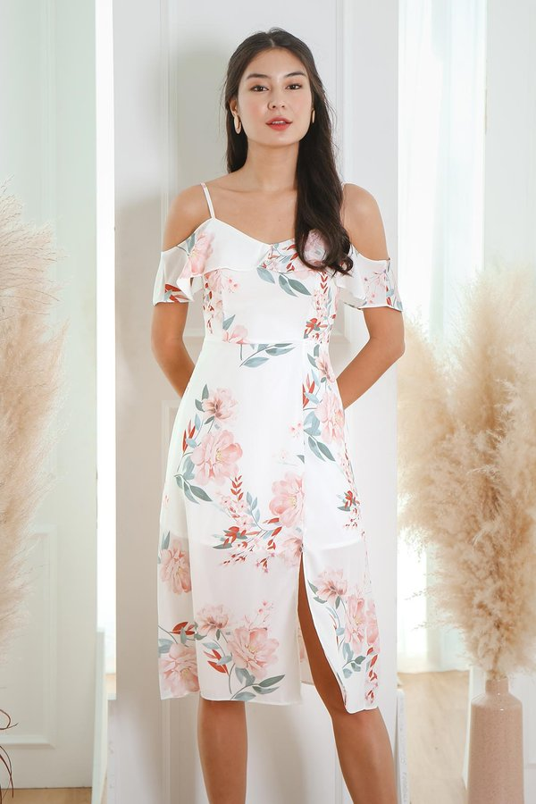 Heirloom Peonies Floral Midi Dress White
