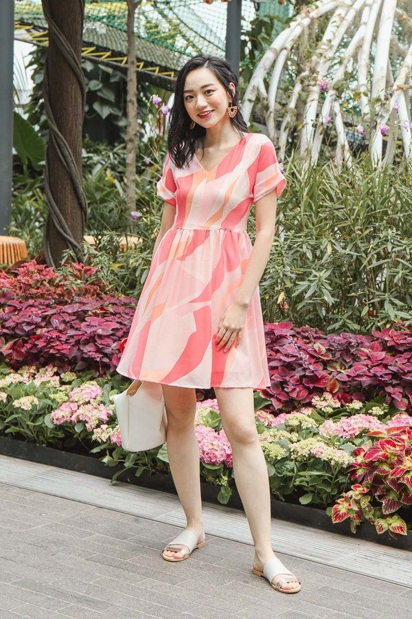 Idyllic Isle Ideals Abstract Babydoll Dress Coral
