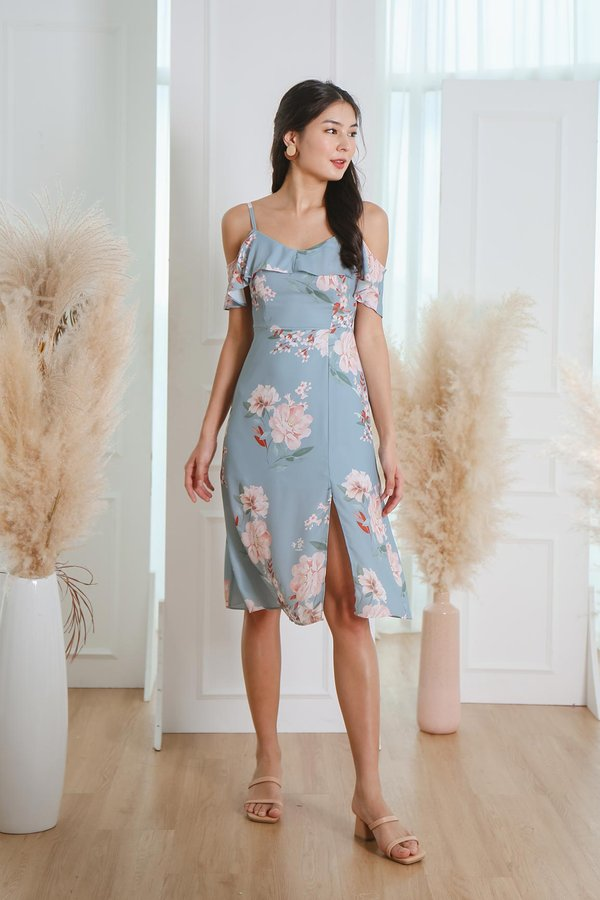 Heirloom Peonies Floral Midi Dress Sky Blue