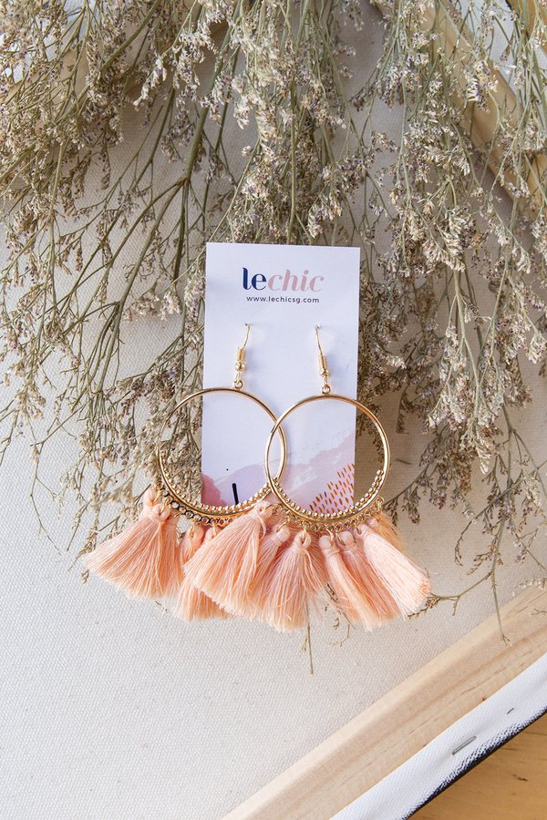 Hotness on Hoops Tassel Earrings Pink