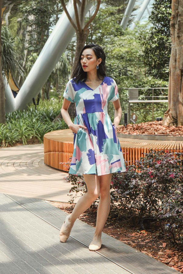 Idyllic Isle Ideals Abstract Babydoll Dress Azure