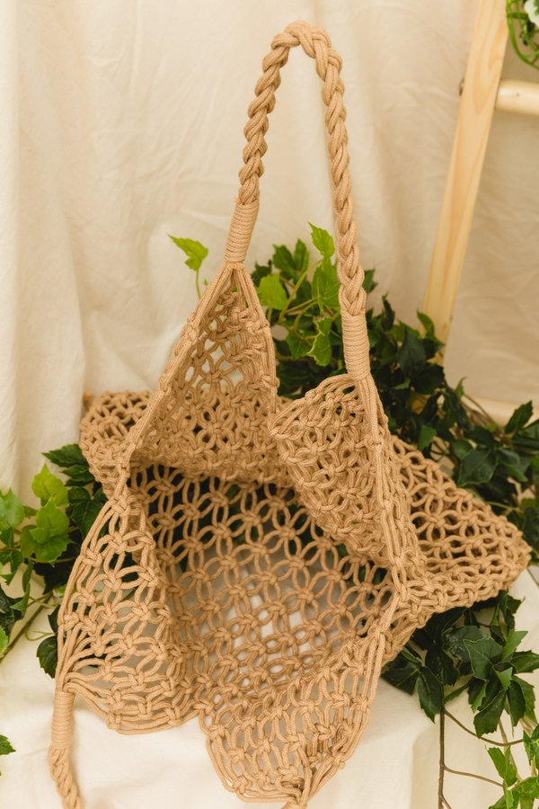 Netted Necessity Woven Bag Camel