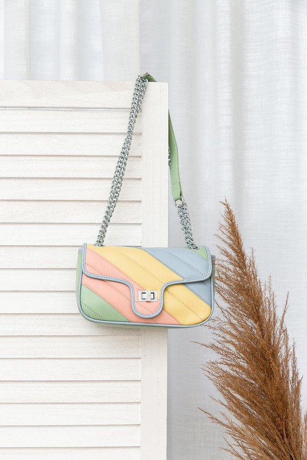 Sorbet Coloured Skies Rainbow Sliding Chain Bag