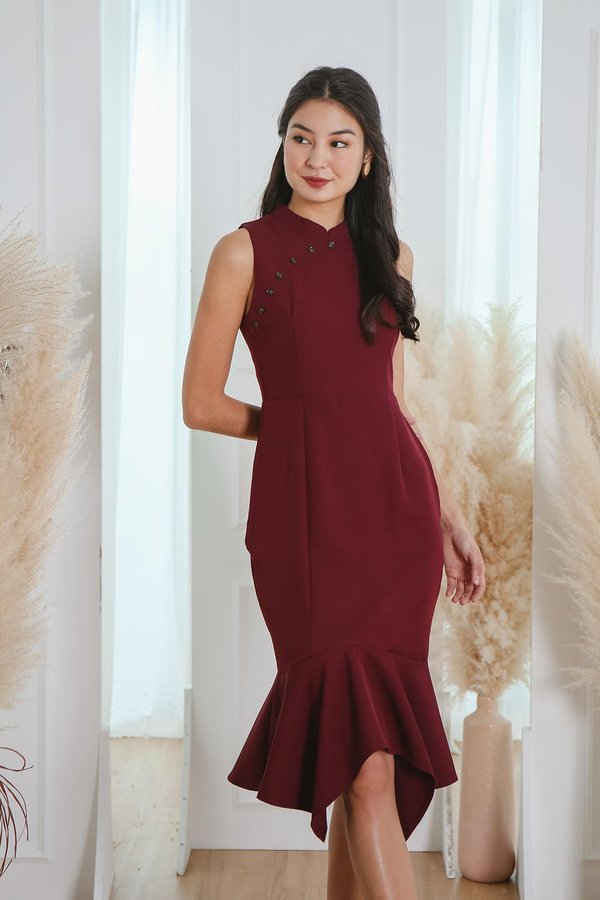 Heritage Heirlooms Trumpet Dress Burgundy Red