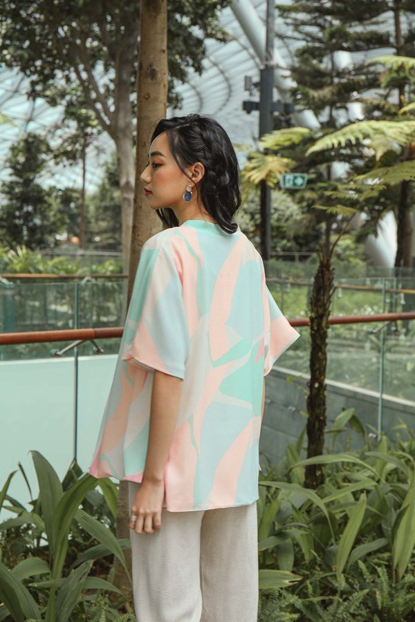 Coastal Colours Abstract Kimono Jacket Cream