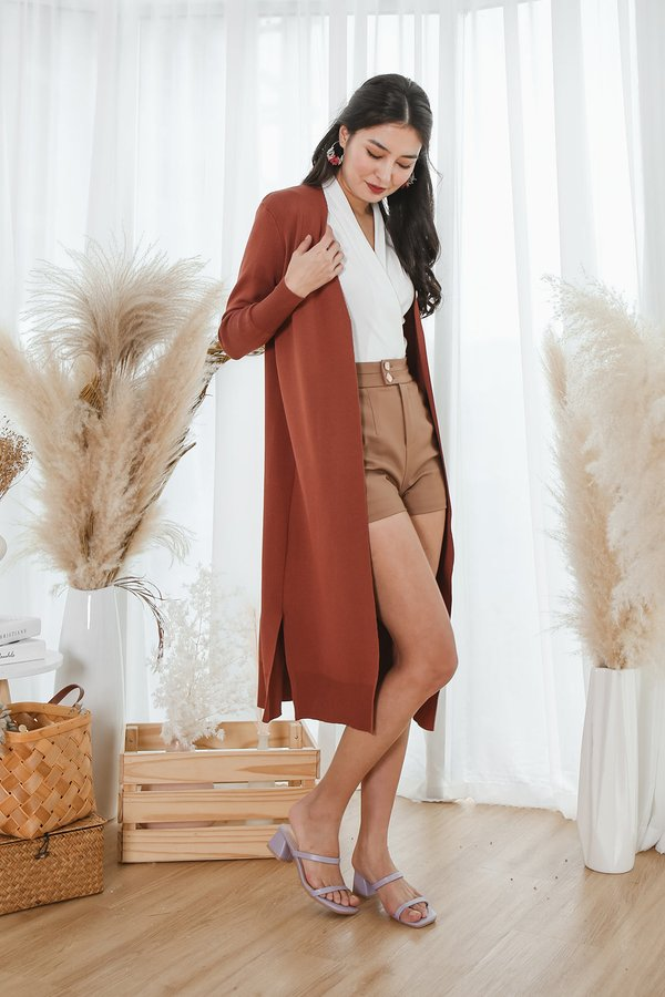 Autumn Afternoons Longline Knit Cardigan Rust
