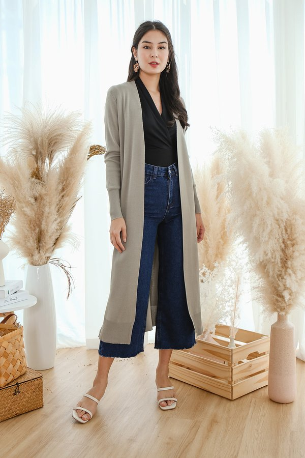 Autumn Afternoons Longline Knit Cardigan Khaki Grey