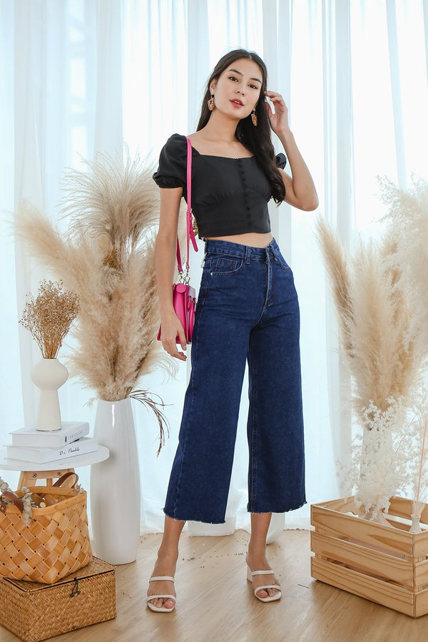 Reason to Strut Wide Leg Denim Culottes Darkwash