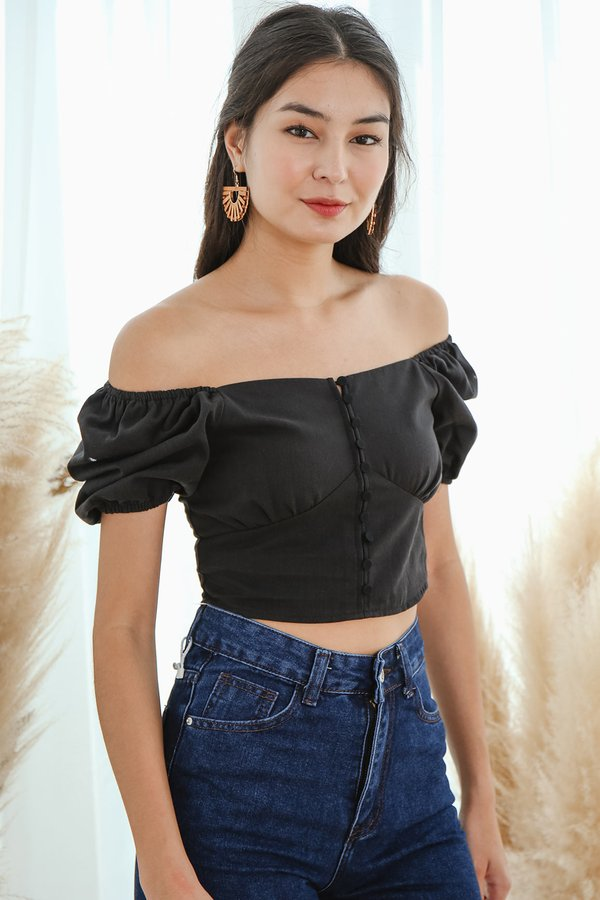 Buzzworthy Buttons Crop Top Black