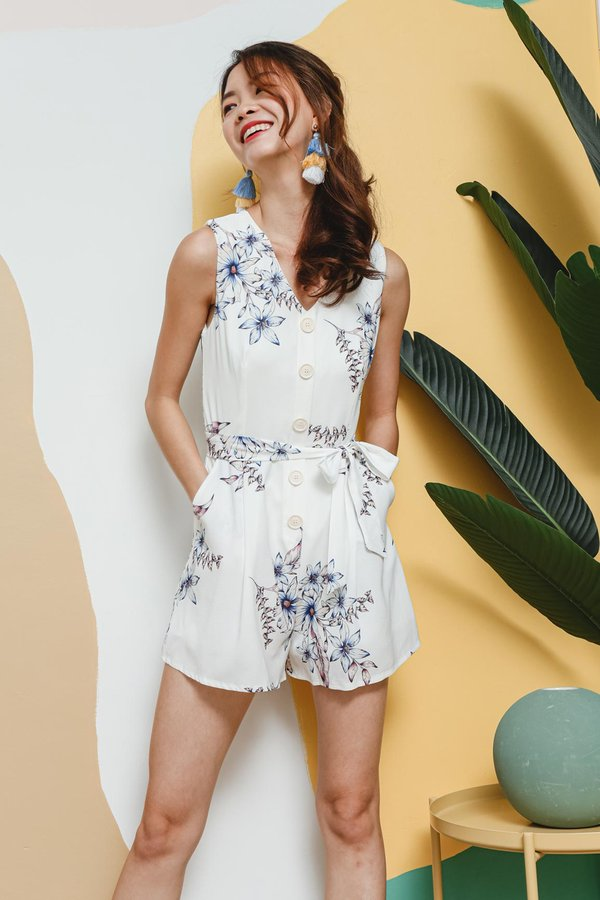 Petals Aplenty Button Romper White