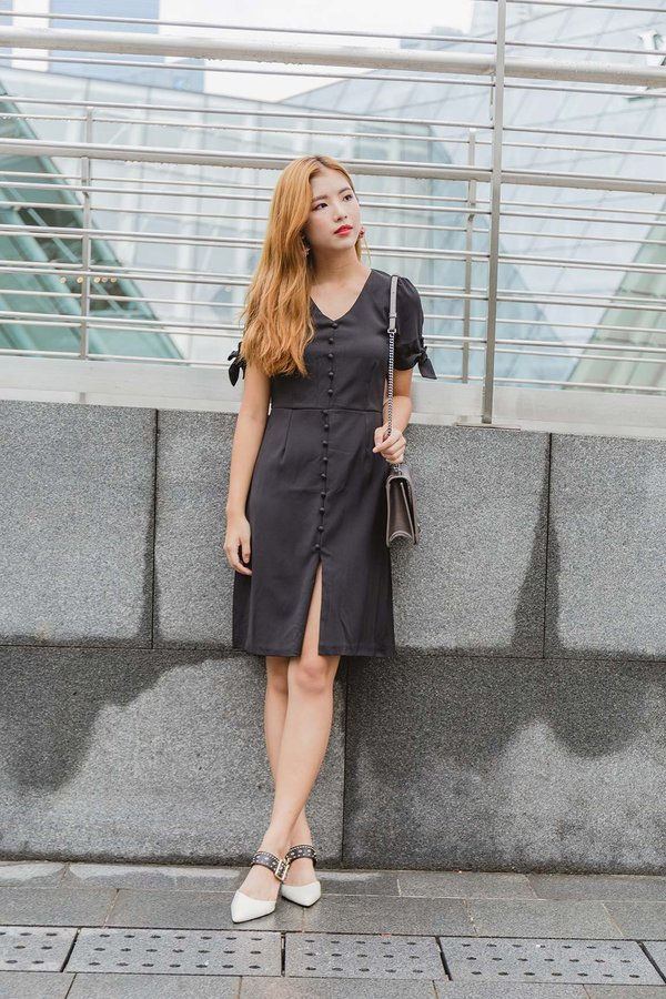 Bow Button Accents Midi Dress Black
