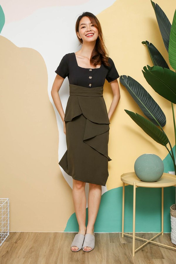 Colour Confidence Ruffle Work Dress Black