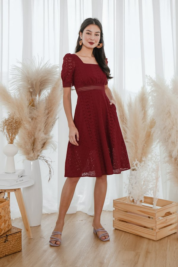 Moment of Merriment Eyelet Midi Dress Burgundy Red