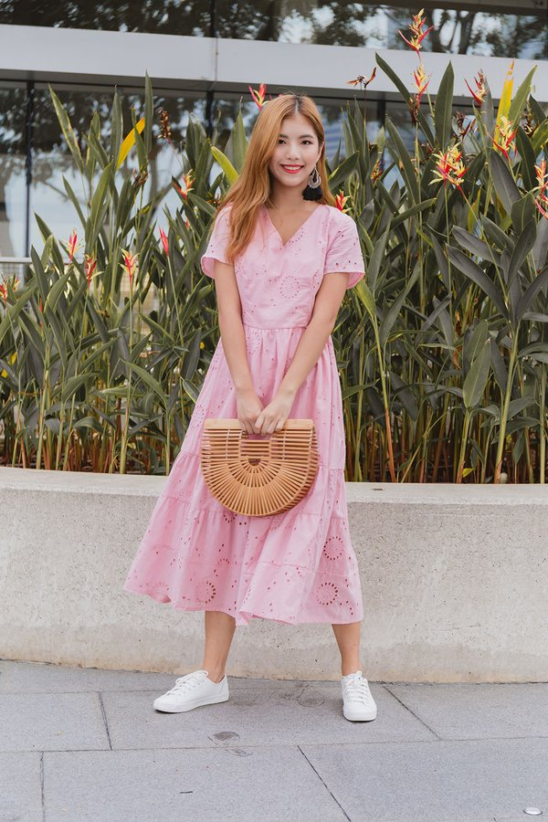 Wholesomely Homespun Eyelet Midi Dress Pink