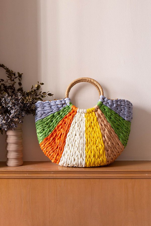 Colour Filled Rainbows Drawstring Rattan Bag Tropical